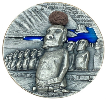 RAPA NUI Easter Island 2 oz Silver Coin with Real Lava Insert 2000 Frs Cameroon 2020