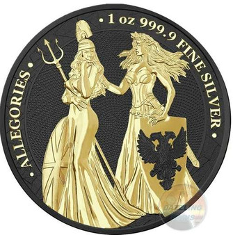 The Allegories 2019 Britannia & Germania 1 oz Silver Black Gold Space Edition