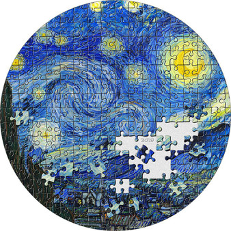 STARRY NIGHT Van Gogh Micropuzzle Treasures 3 oz Silver Coin Palau 2019