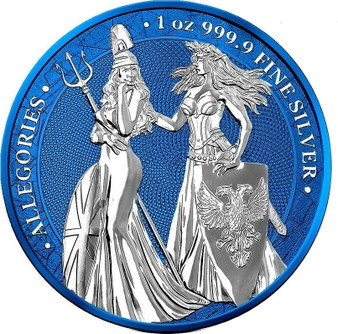 The Allegories 2019 Britannia & Germania 1 oz Silver Space Blue
