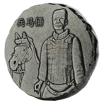 TERRACOTTA ARMY - 5 oz Antique - Polished Silver Coin 2019 Fiji