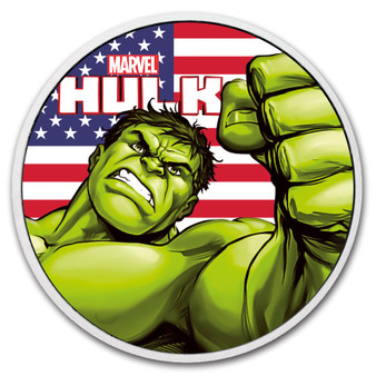 HULK US Flag Marvel series 1 oz Silver Ruthenium Coin Tuvalu 2018