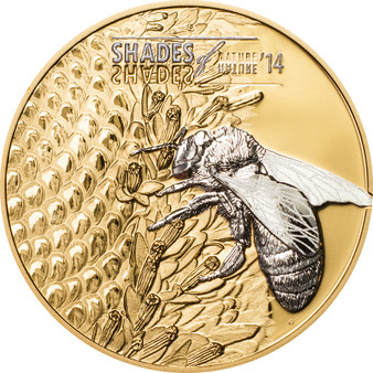 Shades of Nature - Bee Cook Islands 2014 5$ Gilded Silver Coin