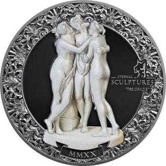 TRE GRAZIE Eternal Sculptures 2 Oz Silver Coin Palau 2020