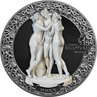TRE GRAZIE Eternal Sculptures 2 Oz Silver Coin Palau 2020