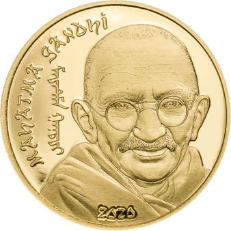 MAHATMA GANDHI 0.5 g Gold Coin 1000 Togrog Mongolia 2020