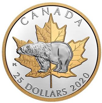 POLAR BEAR  1 oz Silver Gold-Plated Piedfort $25 Coin Canada 2020
