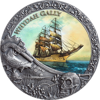 WHYDAH GALLY 2 oz Antique finish Silver Coin 5$ Niue 2019