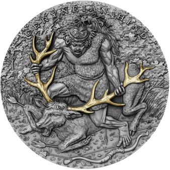 CERYNEIAN HIND Twelve Labours of Hercules 2 Oz Silver Coin Niue 2020