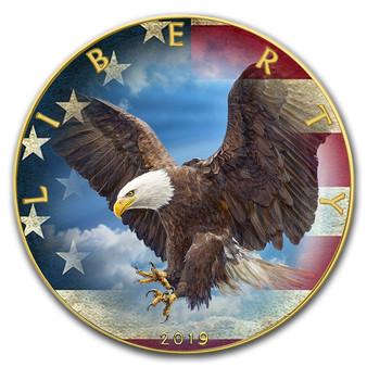 WILDLIFE EAGLE 1 oz Silver Eagle Gold plated Coin USA 2020