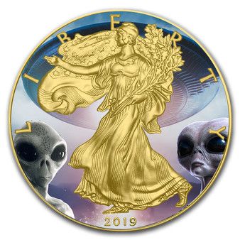 AREA 51  Silver Eagle 1 oz Gold plated  Coin USA 2019