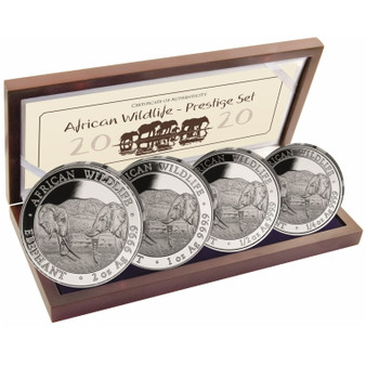 African ELEPHANT Prestige 4-Coin Silver Proof Set 2020 Somalia