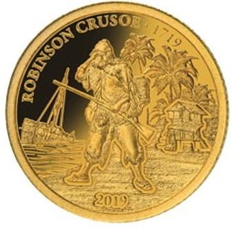 ROBINSON CRUSOE 300 Anniversary Gold Proof Coin Fiji 2019