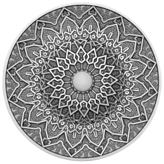 PERSIAN Mandala Art 3 oz Silver Coin with White Jasper insert Fiji 2020