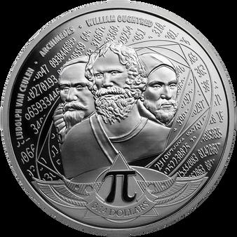 NUMBER PI 1 oz Silver Coin $3.14 Solomon Islands 2020