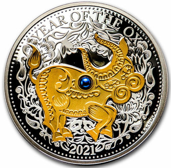 OX with Blue Freshwater Pearl Lunar Year 1 oz Silver Coin $10 Fiji 2021