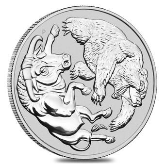 BULL AND BEAR 1 oz .9999 Pure Silver Coin Australia 2020