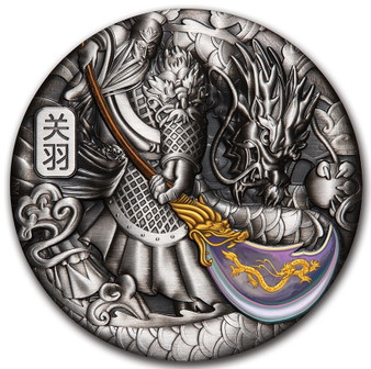 GUAN YU 5 oz Silver Coloured Antiqued Coin Tuvalu 2020