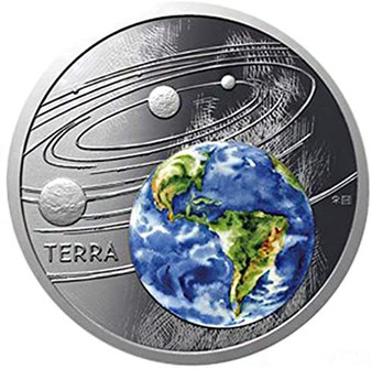 EARTH Solar System 1 oz Silver  Proof Coin  Niue 2019