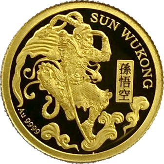 SUN WUKONG Journey To The West Proof Gold Coin 0.5 g .9999 Niue 2020