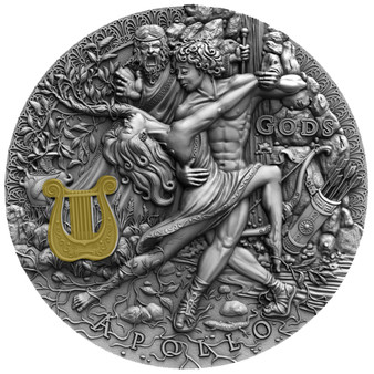 APOLLO God Of The Sun Gods 2 oz Silver High Relief Coin Niue 2020