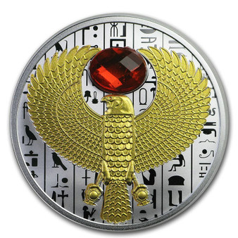 FALCON Symbol Ancient Egypt - Faceted Stone insert Silver Coin Niue 2020