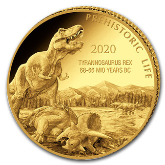 T-REX 0.5 g Gold Proof Coin 100 Francs Congo 2020