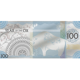 YEAR OF THE OX Silver Foil Silvernote 100 Togrog Mongolia 2021