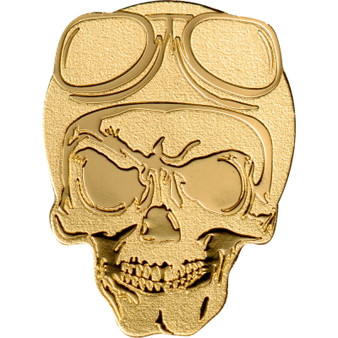 Golden BIKER SKULL 0.5 g Gold Silk finish Coin Palau