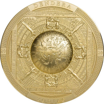 DENDERA Zodiac Egypt Gilded 3 oz Silver Antique Coin Cook Islands 2020