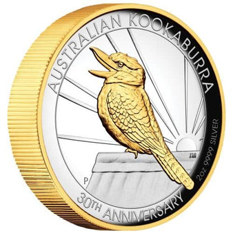 KOOKABURRA 2oz Silver Proof Gilded High Relief Coin 2020 Australia