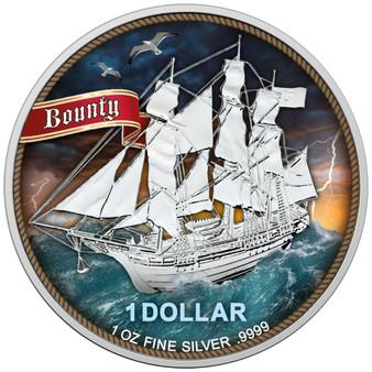 SAILING SHIP BOUNTY - HIGH SEAS 1 oz Silver Color Coin 2020 Cook Island
