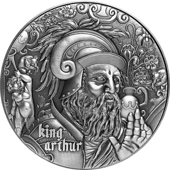 KING ARTHUR The Nine Worthies Series 2 oz Silver High Relief Coin 2020 Chad