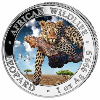 LEOPARD - African Wildlife 1 oz Silver color Coin 2020 Somalia