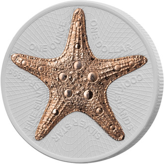 STARFISH Ceco Ceramic 1 oz Silver with Rose gold Coin Cook Island 2019