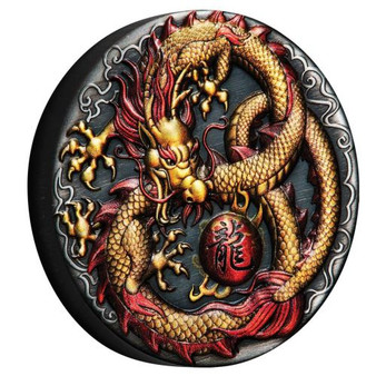 DRAGON Antiqued Coloured 2 oz Silver Coin $2 Tuvalu 2020