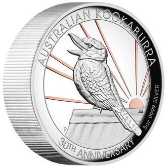 5 oz KOOKABURRA 30th Ann. Silver Proof High Relief Gilded Coin Australia 2020