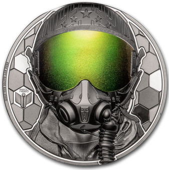 FIGHTER PILOT Real Heroes 3 oz Silver Black Proof Coin $20 Cook Islands 2020