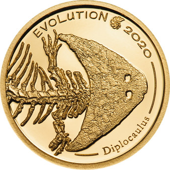 DIPLOCAULUS Evolution of Life Proof 0.5 g Gold Coin Mongolia 2020