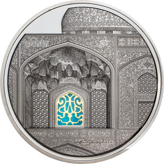 TIFFANY ART Isfahan 5 oz Silver Black Proof Coin $25 Palau 2020
