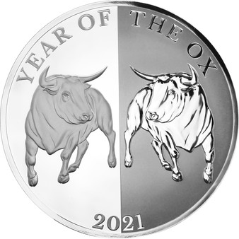 MIRROR OX - Year of the Rat 1 oz Silver Coin 65 mm Tokelau 2020