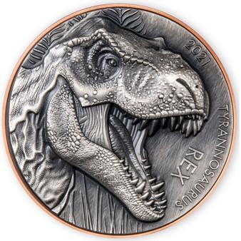 T - REX Dinosaurs Silver & Copper Coin 10 Vatu Vanuatu 2021