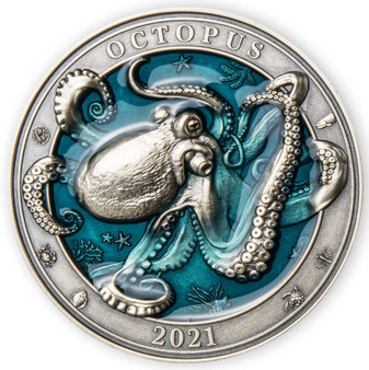 OCTOPUS 3D Effect Underwater World 3 oz Silver Coin