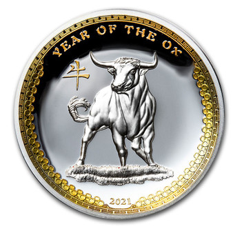 Year of the OX - 1 oz Proof Silver Coin - Ultra High Relief Palau 2021