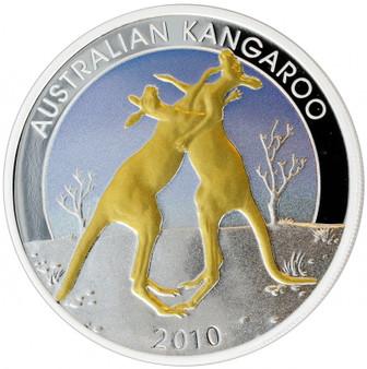KANGAROO Gilded 1 oz Silver Proof Bullion Australia 2010