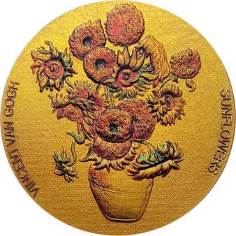 SUNFLOWERS Van Gogh 2 oz Gilded Silver Coin 10 Cedis Ghana 2020