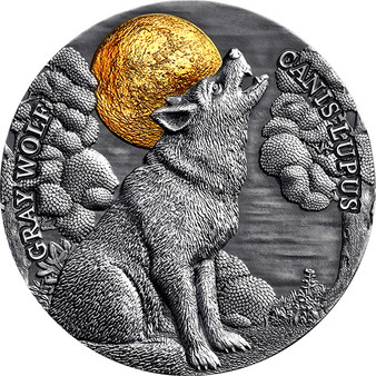 GRAY WOLF High relief 2 oz Silver Coin $5 Niue 2020