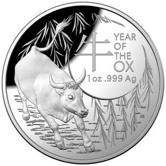 Year of the OX 1 oz Silver Proof Dome shaped Coin $5 Australia 2021
