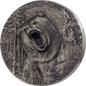 GRIZZLY Predators 3 oz Silver Double High Relief Coin Ivory Coast 2020