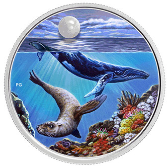 Under a Hopeful Moon Glow-In-The-Dark 1 oz Proof Silver Coin $20 2020 CA